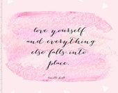 Love Inspirational Quote, Watercolor Art Print, Pink Watercolor, Bedroom Home Decor, Pink, Triangle Pattern, Lucille Ball, Pastel Decor