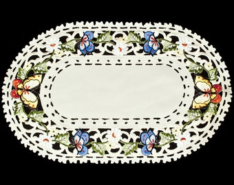 """Embroidered Multi-Color Butterfly Place Mat 11″ X 17"""""""