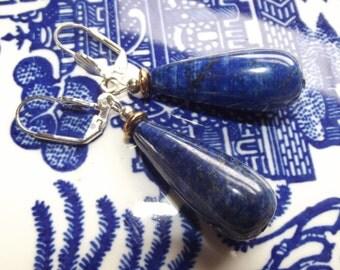 Lapis Earrings - Leverback Earrings - Handmade Earrings - Teardrop Earrings - Stone Earrings