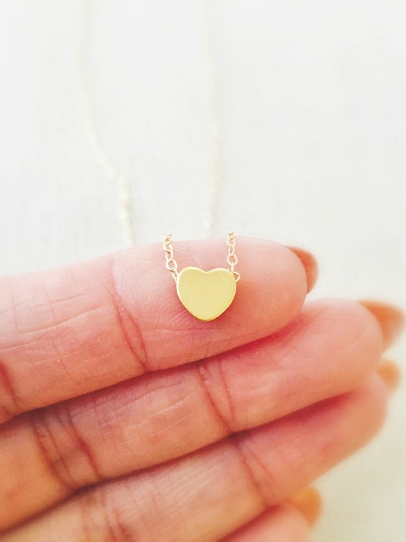 Tiny Gold Heart Necklace- 14k Gold Filled Chain, Dainty Necklace, Birthday Gift, Graduation Gift, Gold Heart Charm, Layered Necklace