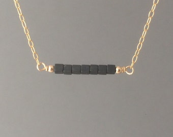 Gray Cube Hematite Straight Beaded Necklace available in gold, rose gold, or silver