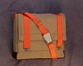 Recycled Tan Cargo Pants Large Crossbody Bag with Orange adjustable strap.