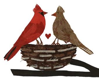 Batik Fabric Collage Art Small Cardinals Nesting Archival Art Print 5 x 7