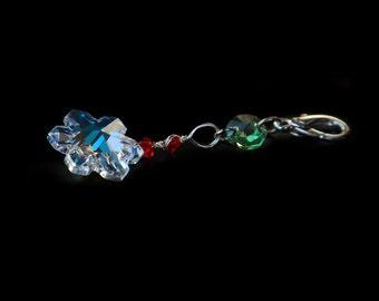 Sweet snow key chain, charm, sun catcher, Swarovski crystal AB snow flake, one of a kind