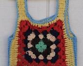 Vintage Hand Knit Granny Square Vest, size 5/6