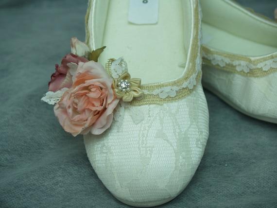 Rustic Wedding Flat Shoes Burlap Mauve Peach Flowers By NewBrideCo