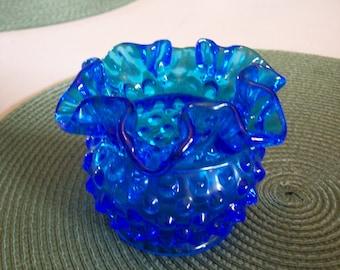 Blue Hobnail Vase, Fenton, Vintage