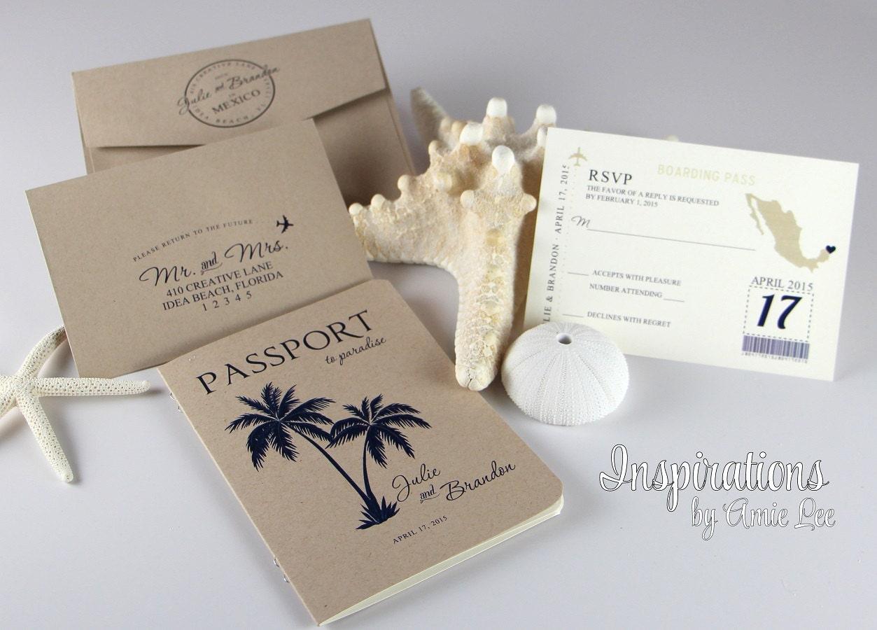 One Page Wedding Invitations: Passport Wedding Invitations