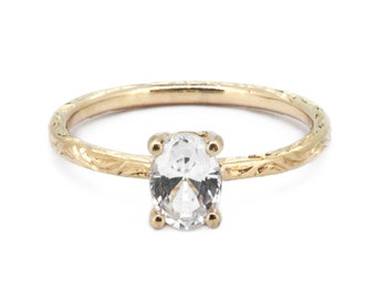The Nightingale Ring - 9ct Gold White Sapphire Engagement Ring