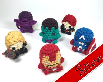 PDF Pattern for Crocheted Avengers Miniature Amigurumi Keychain Dolls Thor, Iron Man, Captain America, Hulk, Black Widow, Hawkeye