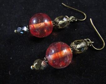Hand beaded orange earrings, hand beaded drop earrings, hand beaded dangle earrings, orange drop earrings, orange dangle earrings