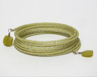 Sleek  Lime Green Memory Wire Bracelet