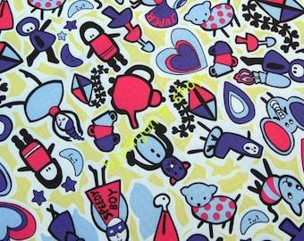 WF255  - Vinyl Waterproof Fabric - girls and animals  - 1/2  yard