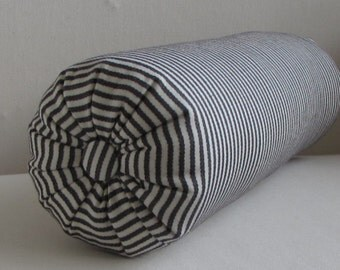 ticking stripe bolster pillow in silhouette 6 x 14,  6 x 16,  6 x 18