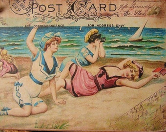 Shabby chic,seaside postcard,vintage style image sealed onto wood.Beach Summer vintage hanging sign