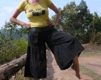 Thai  pants, Wide Leg, Cotton, Black with tribal waistband & pocket