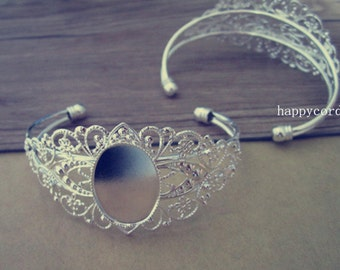2pcs 18mmx25mm silver color pedestal bracelet