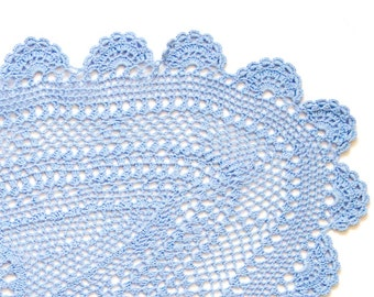 Serenity blue hand dyed Crochet Vintage oval Doily