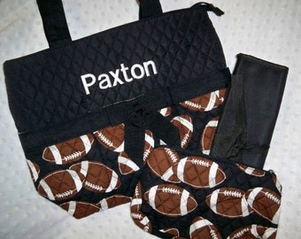PERSONALIZED 3 Piece Diaper Bag Set with Name - Baby Boy or Girl Football Personalized Diaper Bag, Zipper Pouch, Changing Pad Football Baby