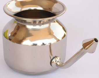 Handcrafted stainless steel neti pot