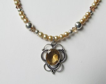 Honey Quartz Gold Pearl and Crystal Bee Necklace