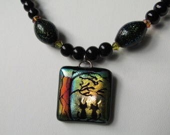 Glass Cat Under Tree Necklace Dichroic Silhouettes