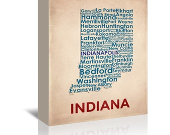 Indiana Contemporary Typography Word Map Ready-to-Hang Premium Gallery Wrap Canvas