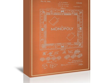 Darrow Monopoly Blue Print Art Ready-to-Hang Premium Gallery Wrap Canvas