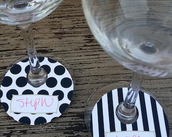 Wine Glass Name Tags ~ Set of 6 ~ Black Strip ~ Black Polka Dot