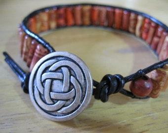 "SALE - Boho Style Single Wrap Beaded Leather Bracelet - 7.5"" - Great Gift Idea"