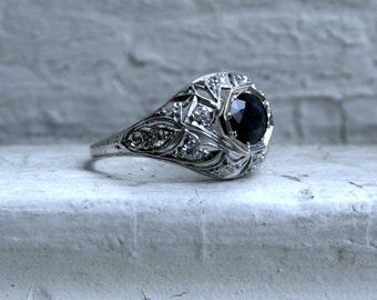 RESERVED - Vintage Filigree Platinum Diamond and Sapphire Engagement Ring - 1.24ct.