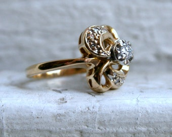Vintage 14K Yellow Gold Diamond Engagement Ring - 0.23ct.