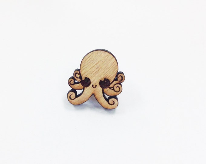 Cute Squid Octopus Pin | Laser Cut Jewelry | Wood Accessories