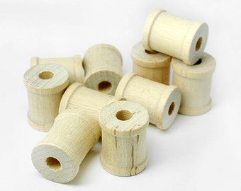 """50 Mini Wooden Spools, 3/4"""" Tall by 5/8"""" Wide , Tiny Wood Spools for Jewelry, Crafting"""