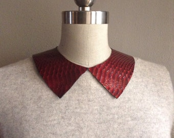 Ruby Red Python Patent Leather Pointed Collar Necklace