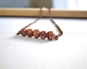Peach and Purple Beaded Bar Bronze Necklace. everyday. statement. gift for her teen. coachella