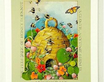garden theme mini print beehive rabbit butterfly