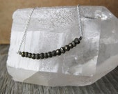 faceted fools gold PYRITE sterling silver necklace