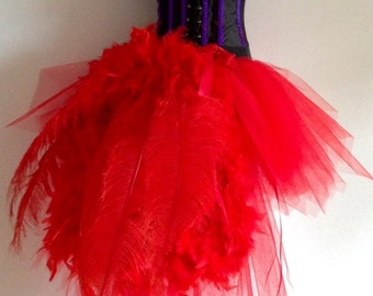 Burlesque Red Swan Tutu Skirt with Ostrich Spadone Feathers