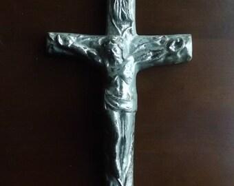 Cast Metal Crucifix Cross Distressed