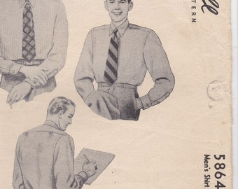 1940's Sewing Pattern - McCalls  5864  Mens Shirt  Size 38