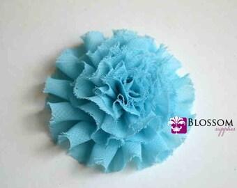 The Debra Collection - Turquoise Frayed Petti Puff Flowers - Shabby Chiffon - DIY Flower Headband - Wholesale Blossom Supplies Carnations