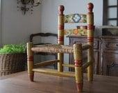 Children's Folk Art Hand Painted Chair