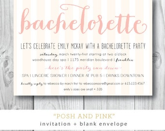 Posh and Pink Printed Invitations | Bachelorette Weekend Party Invitation | Printed or Printable by Darby Cards
