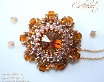 Swarovski Crystal pendant, Gold plated chain, Superduo, Rivoli, African Caramel,  Bridesmaid, Birthday, Anniversary gift -  Creheart