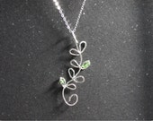 Leaves Crystal Silver Necklace, Sterling Silver Clover Necklace, Crystal Necklace