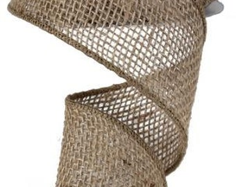 Loose Weave Burlap Ribbon Wired - 2.5 Inches x 10Yd - RA1368