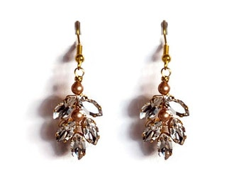Wedding Bridal Chandelier Earring, matches the Gatsby Bridal Headpiece and cuff #323