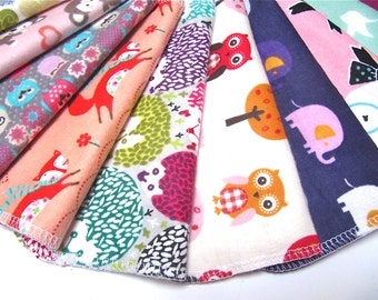 Cloth Napkins, 5 or 10 Girls Mixed Prints, Unpaper Napkins, Back To School Lunch Box Napkins