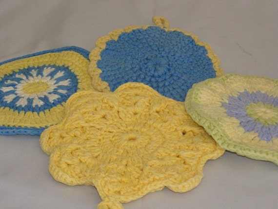 Crochet Quadruple Stitch : Vintage Potholder Handmade Crochet with Hook Lavender Blue Green ...